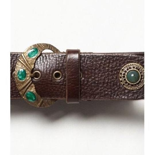Free People Brown And Emerald Green Inlaid Stone Boho Leather Waist Belt Image 1