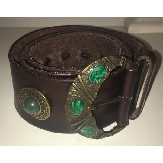 Free People Brown And Emerald Green Inlaid Stone Boho Leather Waist Belt Image 2