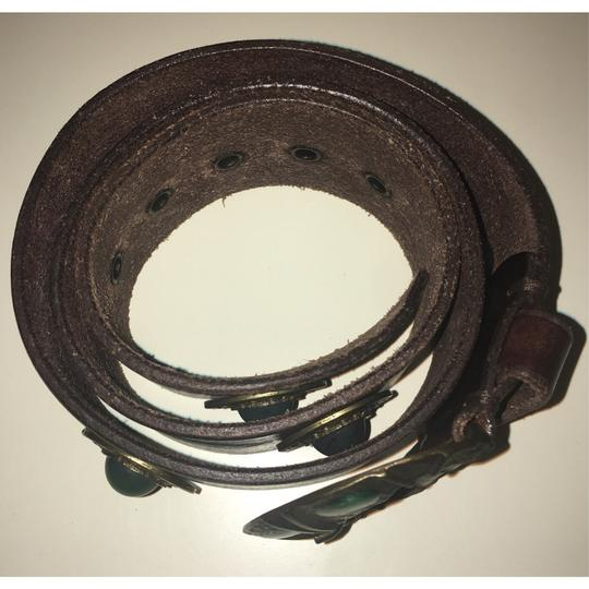 Free People Brown And Emerald Green Inlaid Stone Boho Leather Waist Belt Image 3