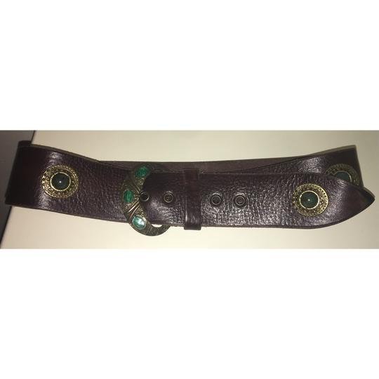 Free People Brown And Emerald Green Inlaid Stone Boho Leather Waist Belt Image 4