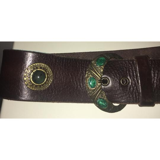 Free People Brown And Emerald Green Inlaid Stone Boho Leather Waist Belt Image 5