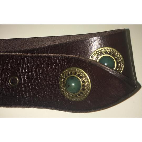 Free People Brown And Emerald Green Inlaid Stone Boho Leather Waist Belt Image 6