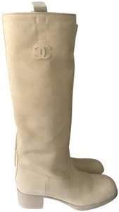Chanel Knee High Riding Suede Ascot Beige Boots