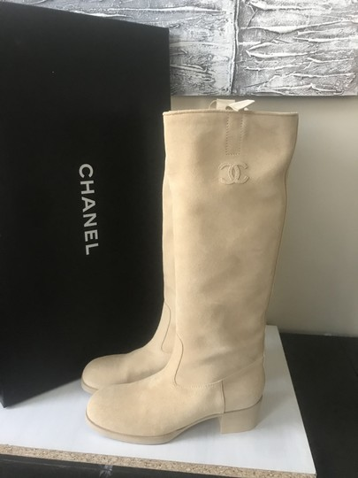 Chanel Knee High Riding Suede Ascot Beige Boots Image 1