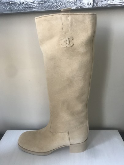 Chanel Knee High Riding Suede Ascot Beige Boots Image 10