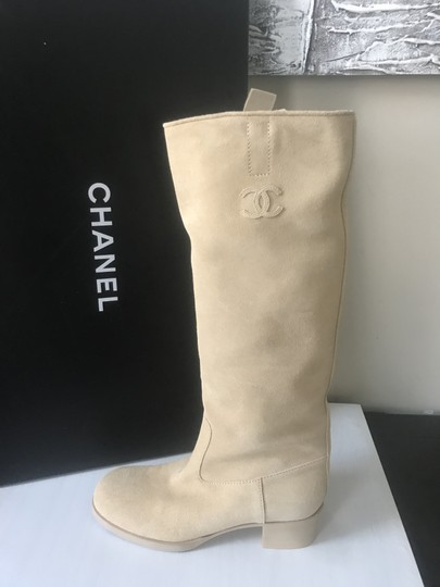 Chanel Knee High Riding Suede Ascot Beige Boots Image 11