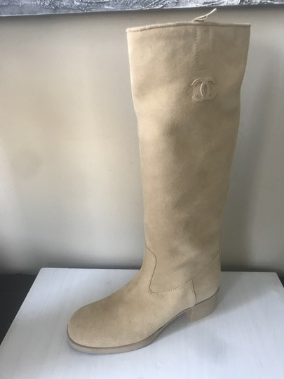 Chanel Knee High Riding Suede Ascot Beige Boots Image 2
