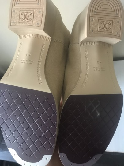 Chanel Knee High Riding Suede Ascot Beige Boots Image 3
