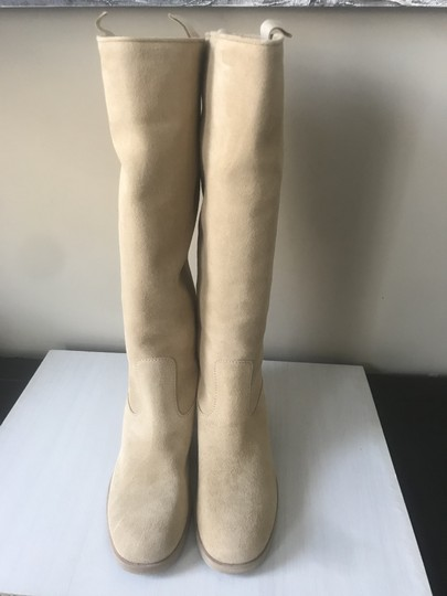 Chanel Knee High Riding Suede Ascot Beige Boots Image 4