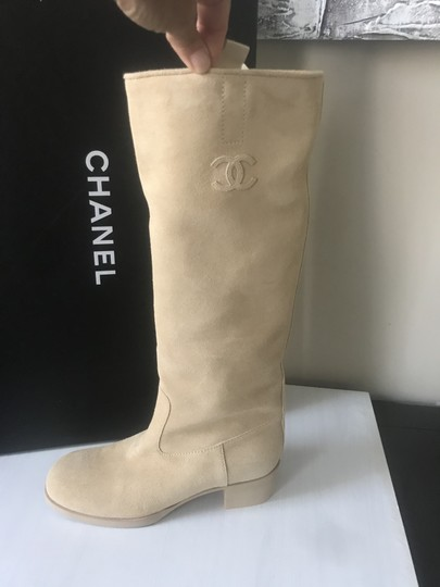 Chanel Knee High Riding Suede Ascot Beige Boots Image 5