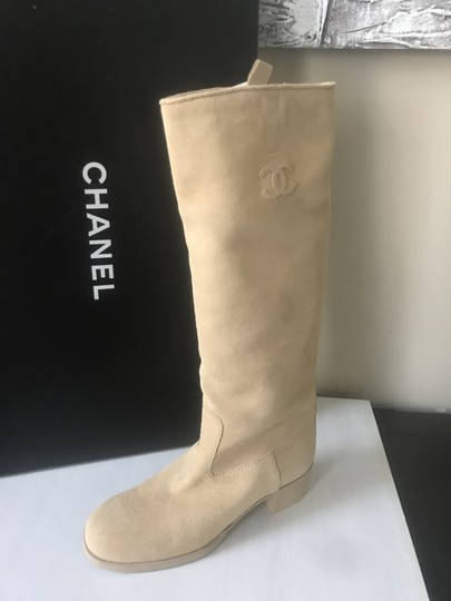 Chanel Knee High Riding Suede Ascot Beige Boots Image 6