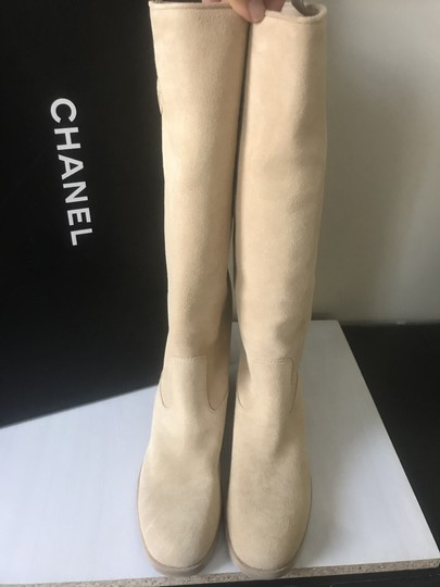 Chanel Knee High Riding Suede Ascot Beige Boots Image 8