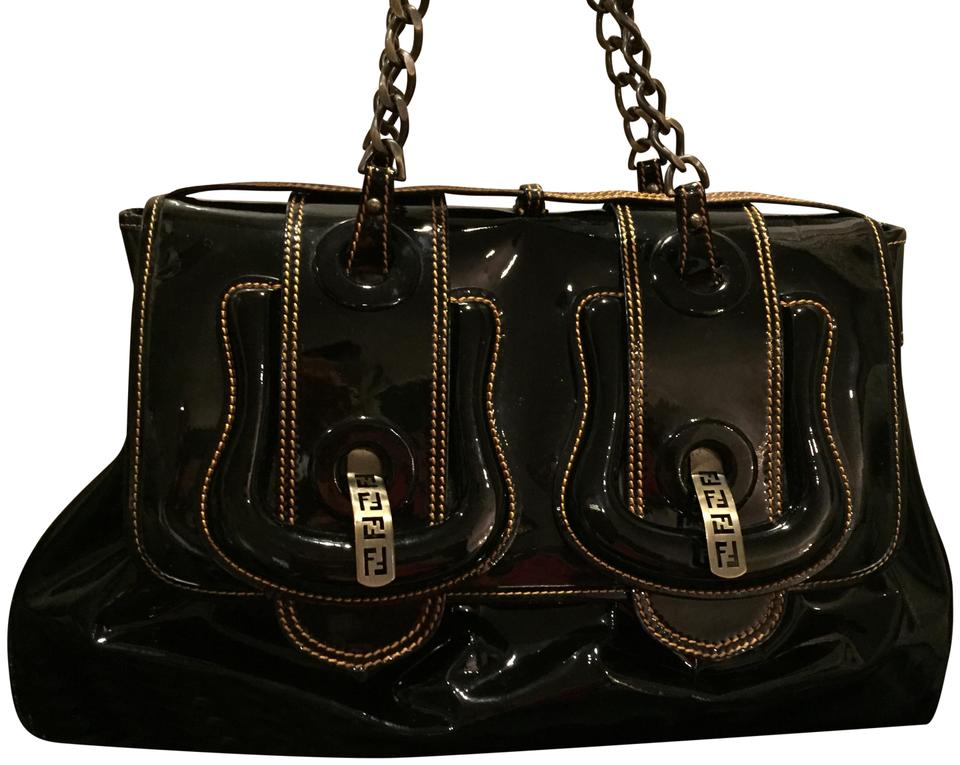 faeee374e661 Fendi B. Buckle Large Black Patent Leather Shoulder Bag - Tradesy
