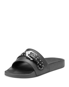 Givenchy Slide Logo Metal Buckle Stud Embellished black Sandals