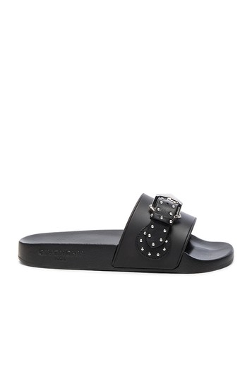 Givenchy Slide Logo Metal Buckle Stud Embellished black Sandals Image 1