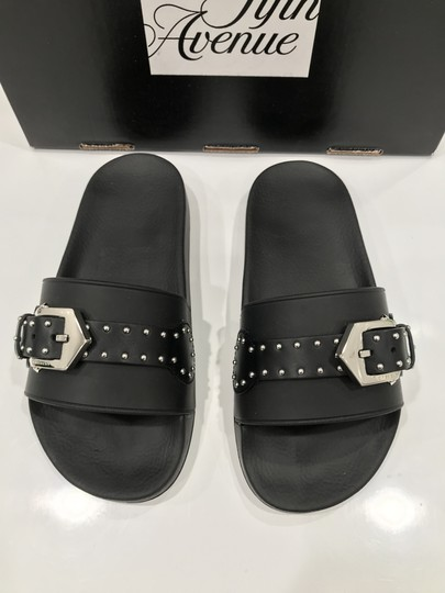 Givenchy Slide Logo Metal Buckle Stud Embellished black Sandals Image 4