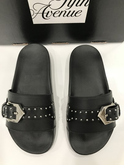Givenchy Slide Logo Metal Buckle Stud Embellished black Sandals Image 5