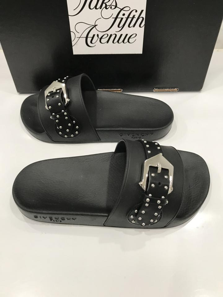 Givenchy Flat Embellished Stud Black Buckle Sandals Rubber FxOFrwgq
