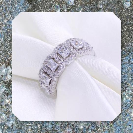 Other New 925 Silver Eternity Band Emerald Cut Stones Image 2