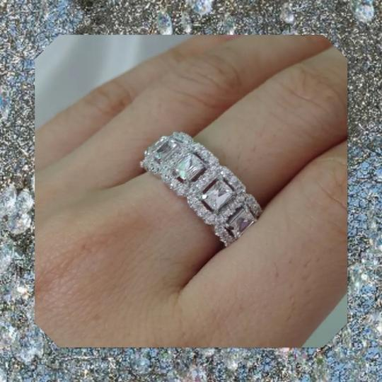 Other New 925 Silver Eternity Band Emerald Cut Stones Image 1