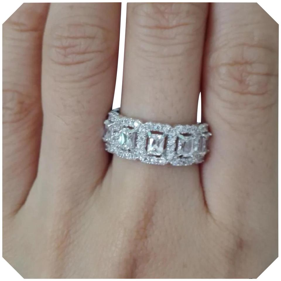 Full Eternity Round Cubic Zirconia Solid 925 Sterling Silver Ring All Sizes