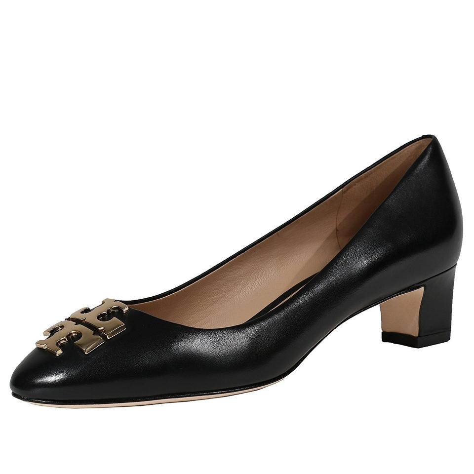 Tory Janey Burch Black / Gold Janey Tory 50mm Calf Leather Pumps 9c599a