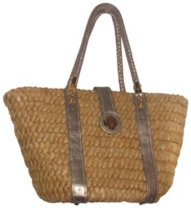 Michael Kors Xl Santorini Style Body Bold Gold Hardware Tote in metallic pewter leather and woven straw