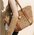 Michael Kors Xl Santorini Style Body Bold Gold Hardware Tote in metallic pewter leather and woven straw Image 1