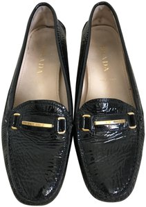 Prada Patent Leather Logo Loafers Black Flats