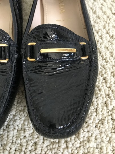 Prada Patent Leather Logo Loafers Black Flats Image 11