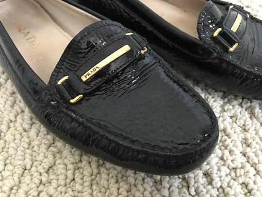 Prada Patent Leather Logo Loafers Black Flats Image 7