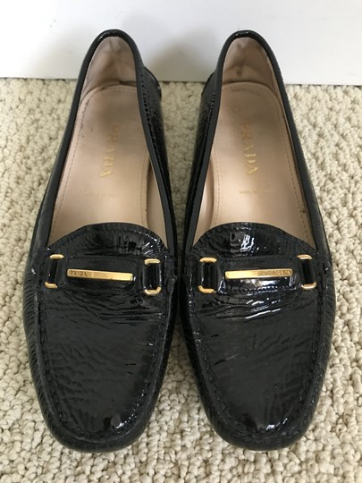 Prada Patent Leather Logo Loafers Black Flats Image 8