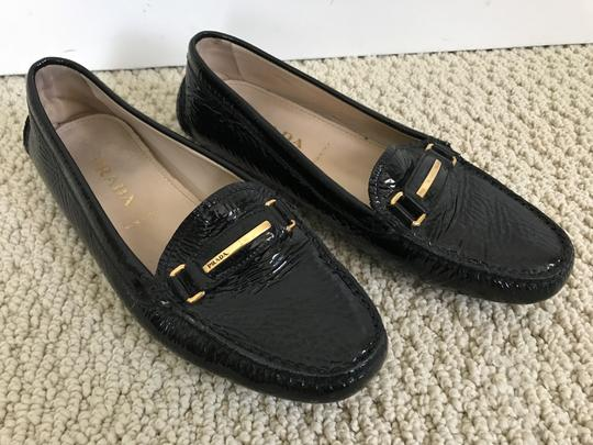 Prada Patent Leather Logo Loafers Black Flats Image 9