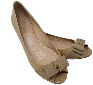 Tory Burch Gold Hardware Patent Leather Camellia Reva Miller Beige Flats