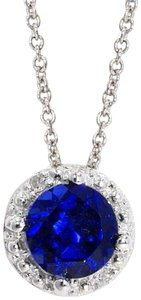 Other Blue Sapphire & Diamond Round Pendant .925 Sterling Silver
