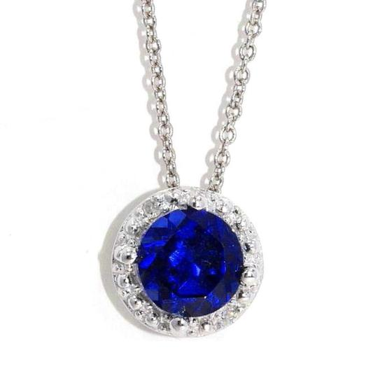 Other Blue Sapphire & Diamond Round Pendant .925 Sterling Silver Image 1