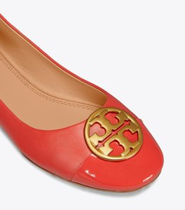 Tory Burch Leather Ballet Chelsea Cap-toe Red Flats