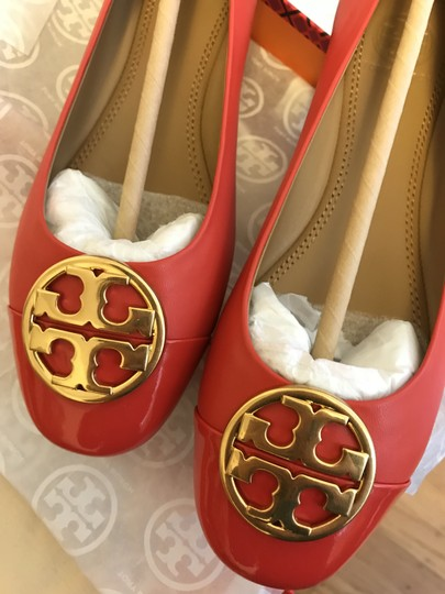 Tory Burch Leather Ballet Chelsea Cap-toe Red Flats Image 4