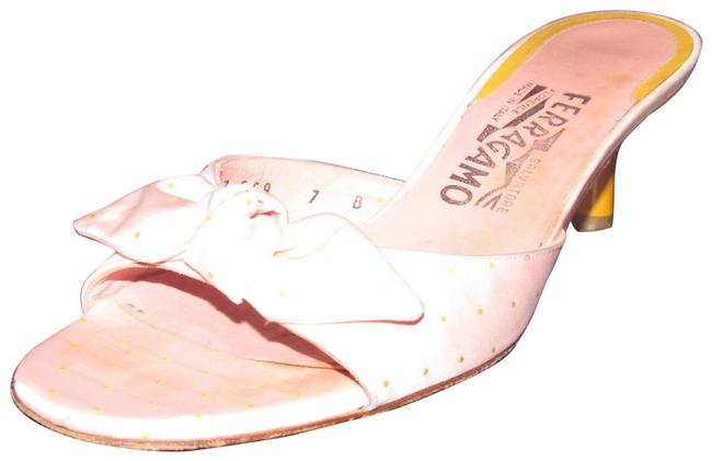 Item - Silk Print In Pink with Yellow Polka Dots and Yellow Lacquered Heels Shoes/Designer Sandals Size US 7 Regular (M, B)