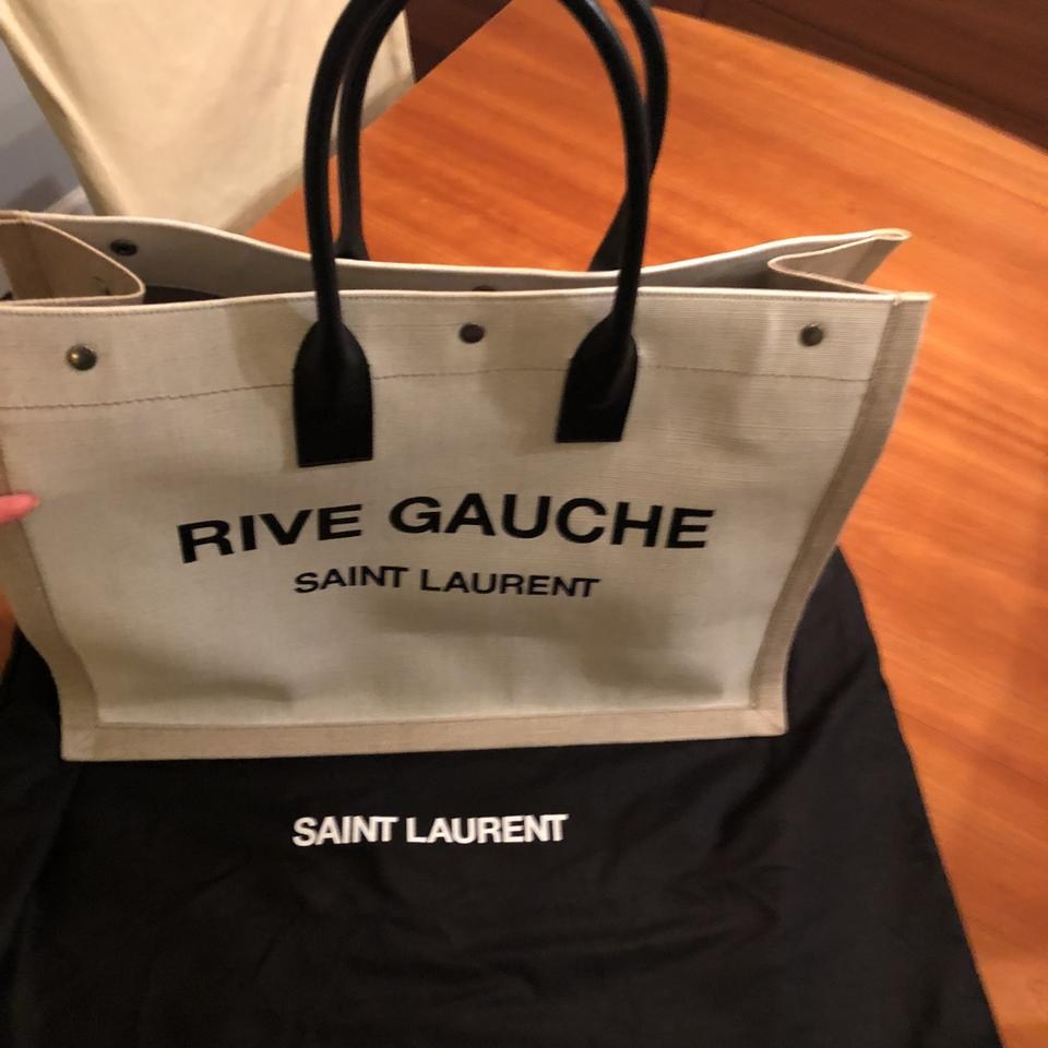16c44a0af33 Saint Laurent Ysl Sac Noe Cabas Beige and Black Canvas Leather Tote ...