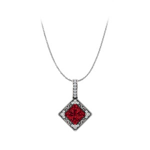 DesignerByVeronica Free Chain with Ravishing Square Ruby and CZ Pendant