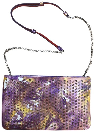 Preload https://img-static.tradesy.com/item/23813002/christian-louboutin-loubiposh-multicolored-lavender-white-light-yellow-patent-with-spikes-clutch-0-1-540-540.jpg