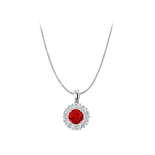 Preload https://img-static.tradesy.com/item/23813030/red-july-birthstone-ruby-cz-round-halo-pendant-in-silver-necklace-0-0-540-540.jpg