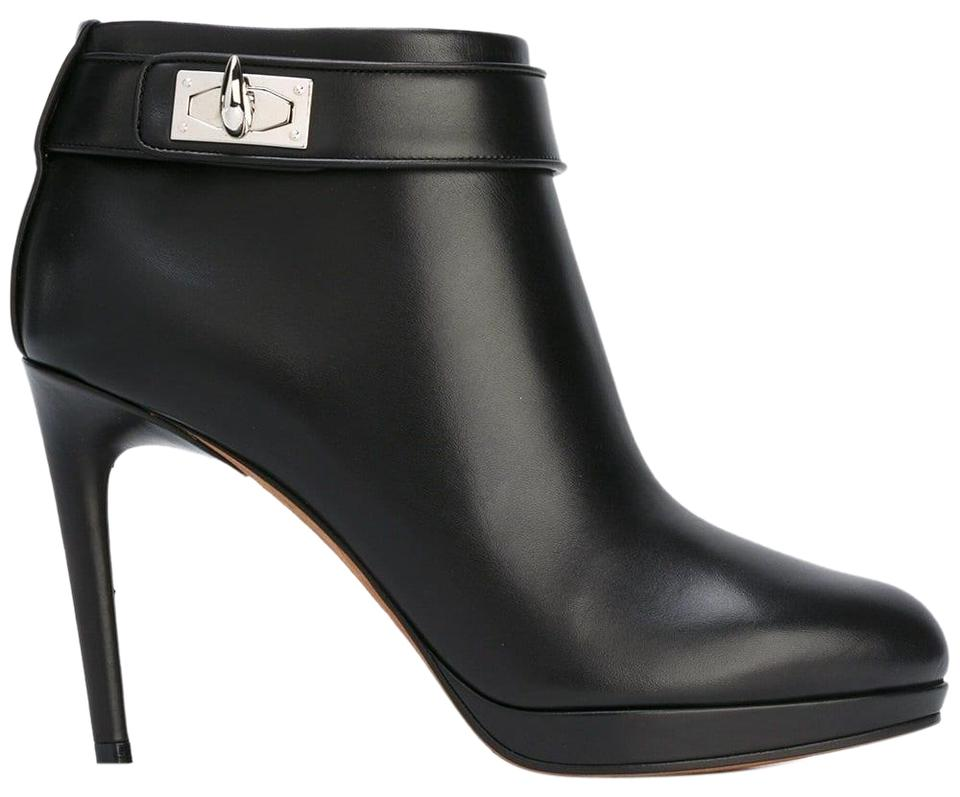 Givenchy Black Leather Shark Tooth Lock Ankle Heel Boots Booties ... fca8effb6766