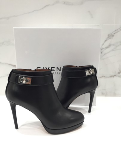 Givenchy Leather Shark Lock Made In Italy Ankle Strap black Boots Image 3