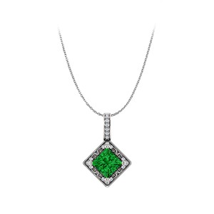 DesignerByVeronica Pay For Emerald and CZ Square 925 Silver Pendant Only
