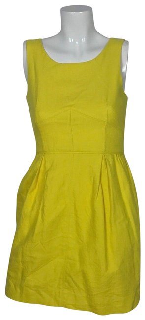 Preload https://img-static.tradesy.com/item/23813086/jcrew-yellow-fit-flare-sleeveless-casual-career-business-short-cocktail-dress-size-2-xs-0-2-650-650.jpg