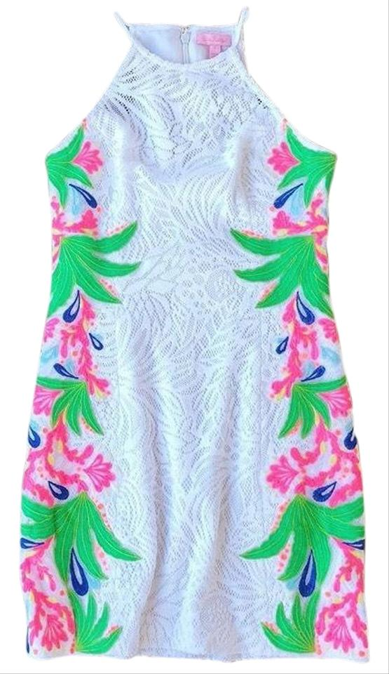 8841823bd31 Lilly Pulitzer Resort White with Tropical Fruit Lace Pearl Shift Mid ...