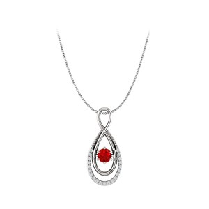 DesignerByVeronica Ruby and CZ Infinity Double Loop Style Pendant Silver