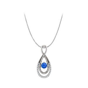 DesignerByVeronica Sapphire and CZ Infinity Pendant with Double Loop Style